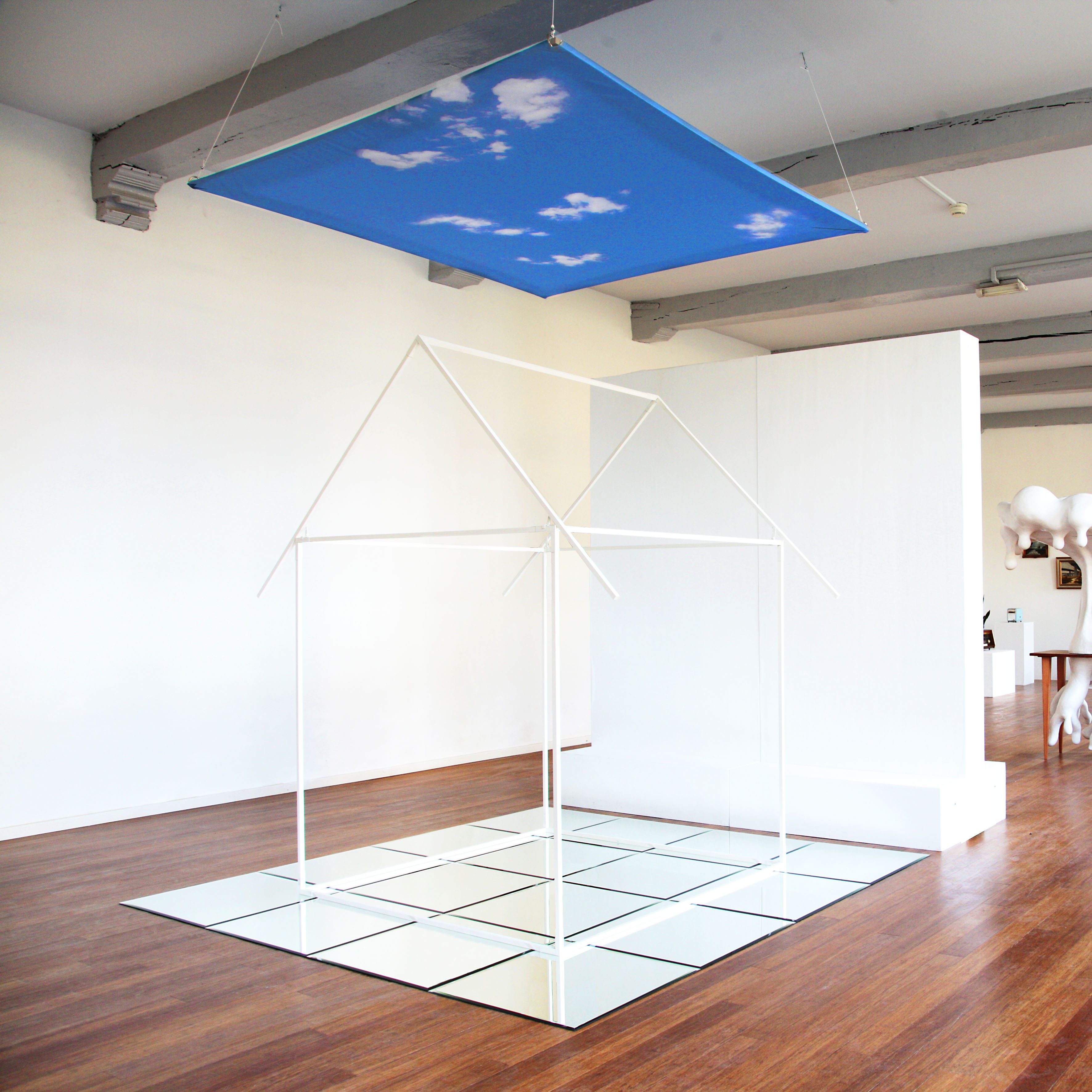 """""""The Sky is the Limit"""", installation with wooden poles, mirrors"""
